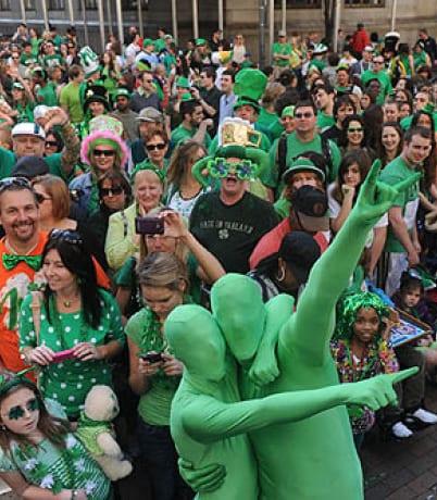 people in costume celebrating St. Patrick's Day