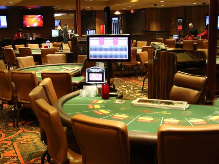 casino with brown chairs