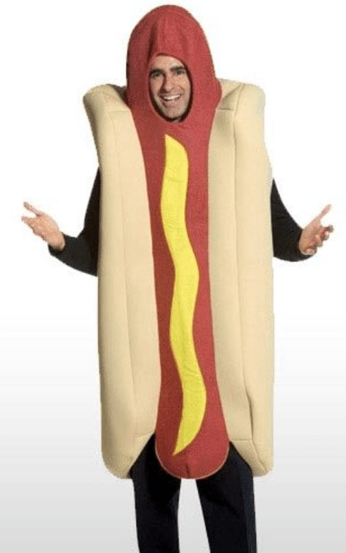 man dressed in hot dog costume